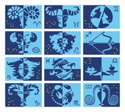 Set of astrological stylized zodiac symbols. The outlines of the zodiac constellations. Horoscope signs, blue tones design vector illustration