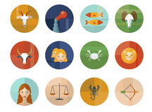Set of Astrological Zodiac Symbols. Horoscope. Royalty Free Stock Image