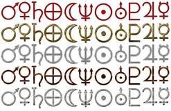 Set of astrology symbols of planets stock illustration