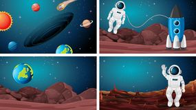Set of astronaut in the space. Illustration royalty free illustration