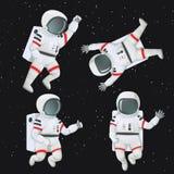 Set astronauta lata w przestrzeni ilustracja wektor
