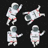 Set of astronauts flying in space. vector illustration