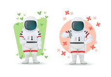 Set of astronauts making gestures of approval and disapproval. One showing thumbs up and other thumbs down sign. Like and dislike vector illustration