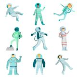 Set of astronauts of men and women dancing in zero gravity and conquering other planets. Drawing illustration. Illustration isolated on white background royalty free illustration