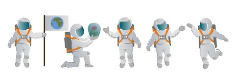 A set of astronauts. royalty free illustration