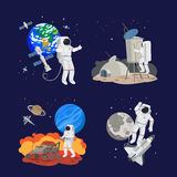 Set of astronauts in space Stock Image