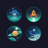 Set astronautyczne ikony Fotografia Royalty Free