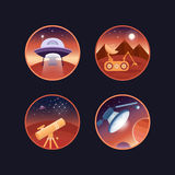 Set astronautyczne ikony Zdjęcie Stock