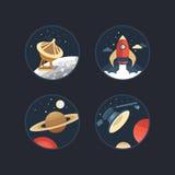 Set astronautyczne ikony Zdjęcie Royalty Free