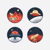 Set astronautyczne ikony Obraz Stock