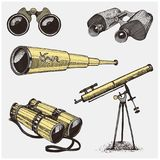 Set of astronomical instruments, telescopes oculars and binoculars, quadrant, sextant engraved in vintage hand drawn or. Wood cut style , old sketch glasses Royalty Free Stock Photo