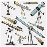 Set of astronomical instruments, telescopes oculars and binoculars, quadrant, sextant engraved in vintage hand drawn. Or wood cut style , old sketch glasses Royalty Free Stock Images
