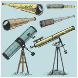 Set of astronomical instruments, telescopes oculars and binoculars, quadrant, sextant engraved in vintage hand drawn. Or wood cut style , old sketch glasses Stock Photo