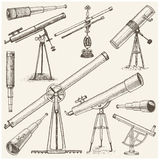 Set of astronomical instruments, telescopes oculars and binoculars, quadrant, sextant engraved in vintage hand drawn. Or wood cut style , old sketch glasses Royalty Free Stock Photos