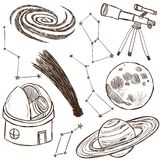 Set of astronomical objects. Set of astronomical and space objects - hand drawn illustration Royalty Free Stock Images