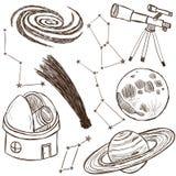 Set astronomiczni przedmioty Obrazy Royalty Free