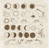 Set of astronomy sketches. Stock Photos