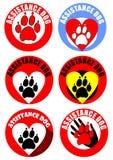 Set asystenta psa majcher i emblematy Motyw psa ślad, serce, ludzka ręka Wyróżniająca kolekcja w żywych kolorach Zdjęcie Royalty Free