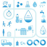 Set of Water Infographics Icons and Elements Stock Images