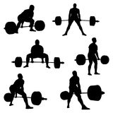 Set athlete powerlifter deadlift. Black silhouette powerlifting competition royalty free illustration