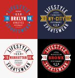 Set Athletic T-shirt Graphic. Typography Design vector Stock Photography
