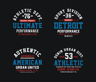 Set Athletic typography design. T-shirt graphic, vector image Stock Photos