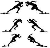 Set athletics runners. Sprinters starting blocks vector illustration