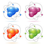 Set Atom Model. Set 3D Realistic Atom Model, vector icon isolated on white background Royalty Free Stock Images