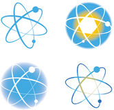 Set of atom molecule logos signs. Set of various atom molecule nuclear medical scientific logos signs Vector Illustration