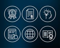 Attachment, Idea and Reward icons. Internet report, Globe and Diploma signs. Set of Attachment, Idea and Reward icons. Internet report, Globe and Diploma signs Stock Images