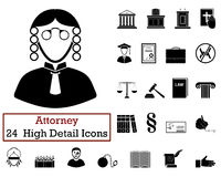 Set of 24 Attorney Icons. In Black Color.Vector illustration Stock Photos