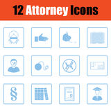 Set of attorney icons. Blue frame design. Vector illustration Royalty Free Stock Image