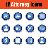 Set of attorney icons. Royalty Free Stock Photo