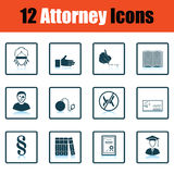 Set of attorney  icons. Shadow reflection design. Vector illustration Stock Images
