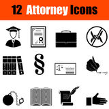 Set of attorney  icons. Set of twelve attorney black icons. Vector illustration Stock Photography