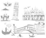 Set of attractions in Italy vector illustration