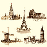 Set attractions, the Kremlin, the Eiffel Tower, the Colosseum, t Stock Photos
