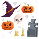 Set of attributes for the Halloween witch`s hat, carved pumpkins, skull, burning candles, tombstone. Vector illustration. Set of attributes for the Halloween royalty free illustration