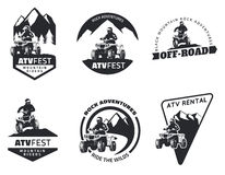 Set of ATV emblems, badges and icons. All-terrain vehicle off-road design elements Stock Photography