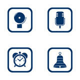 Set of audible icons alarm bell, microphone, alarm clock and bell vector Royalty Free Stock Photography