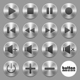 Set of audio buttons. Set of round metal audio buttons with brushed aluminum texture reflection isolated on gray background Royalty Free Stock Photo