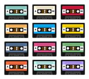 Set of audio cassette old tape recorders used in the 80s of the 20th century. It can be used as an illustration of the. History of the technology of sound Royalty Free Stock Photography