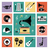 Set of audio icons. Set of vector icons of audio and musical instrument Vector Illustration