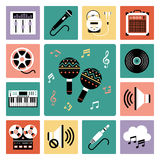Set of audio icons. Set of vector icons of audio and musical instrument Stock Illustration