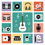 Set of audio icons. Set of vector icons of audio and musical instrument Royalty Free Illustration