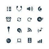 Set audio ikony Zdjęcia Royalty Free