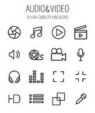 Set of audio and video icons in modern thin line style. Stock Images