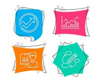 Audit, Infochart and Presentation icons. Keywords sign. Arrow graph, Stock exchange, Education board. Set of Audit, Infochart and Presentation icons. Keywords Royalty Free Stock Images