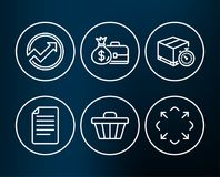 Audit, Shop cart and Delivery timer icons. Salary, File and Maximize signs. Set of Audit, Shop cart and Delivery timer icons. Salary, File and Maximize signs Stock Image