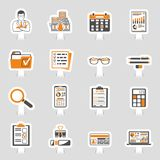 Auditing, Tax, Accounting Sticker Icons Set. Set Auditing, Tax process calculation, Business Accounting sticker icons in flat style. Calculator, Magnifying Glass Royalty Free Stock Photos
